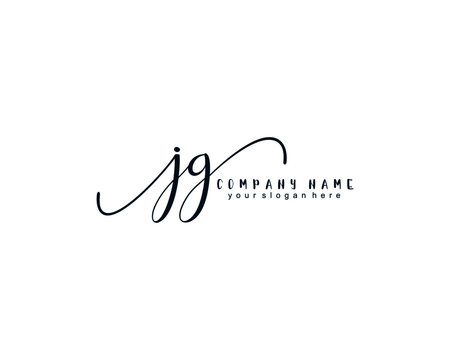 Letter JG handwrititing logo with a beautiful template