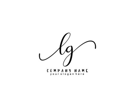 Letter LG handwrititing logo with a beautiful template