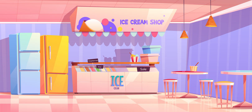 Ice cream shop interior with counter, fridge and tables. Vector cartoon illustration of cafe with ice cream in freezer, italian gelateria or parlor with sundae
