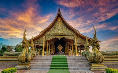 Fotobehang Bedehuis watsirindhornwararam Temples important sights Of Ubon Ratchathani, Thailand