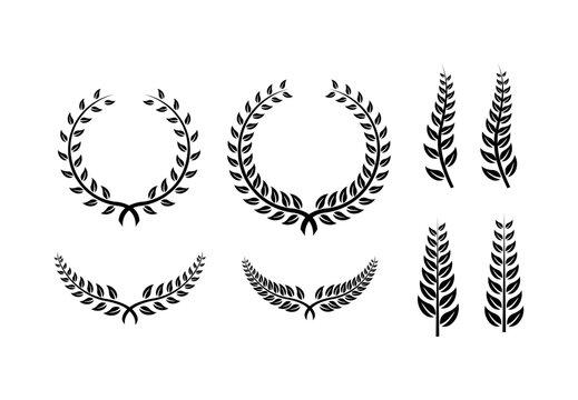 collection of Laurel Leaf crown branch black logo icon design vector illustration