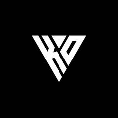 Fototapeta KO Logo letter monogram with triangle shape design template obraz