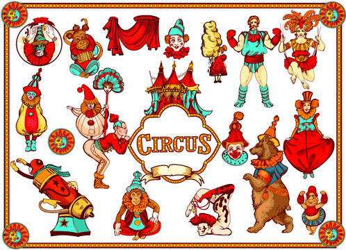 Vector retro circus colored hand-drawn icon set. Acrobat, clown, carnival show actors, monkeys, strong man. Retro circus collection of decorative figures. Cartoon style.