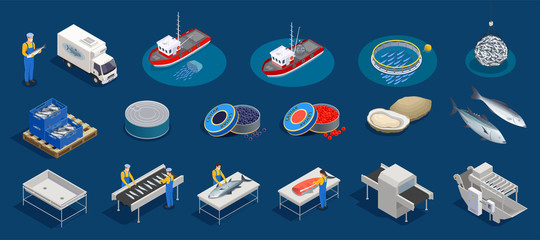 Isometric Seafood Production Set