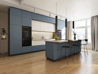 Modern wooden white kitchen in the interior Wall mural