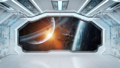 Fototapete - White blue spaceship futuristic interior with window view on space and planets 3d rendering