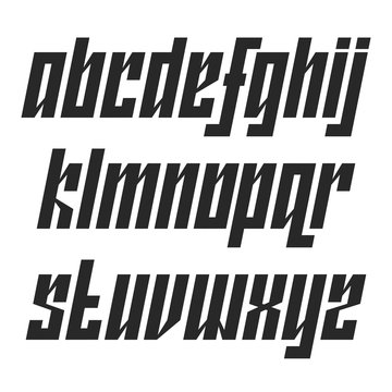 Modern lowercase italic font with movement typography design element, narrow dynamic alphabet with a tilt angle, black bold set letters type.