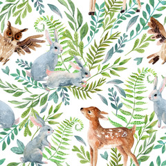 Watercolor baby deer, owl, little rabbits on wild herbs and flowers background