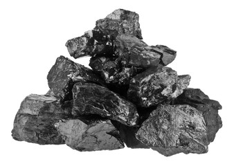 Pile of coal isolated on a white background close-up.