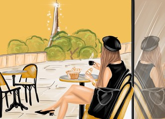 Illustration of a woman dressed in black having a french breakfast with coffee and croissant at the cafe terrace with eiffel tower on the background Wall mural