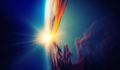 Keuken foto achterwand Heelal Sunrise on planet orbit, space beauty