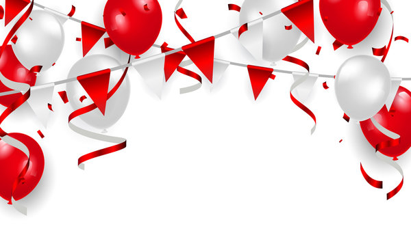 Red balloons, confetti concept design 17 August Happy Independence Day greeting background. Celebration Vector illustration.