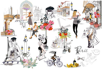 Set of Paris illustrations with fashion girls, cafes and musicians. Vector illustration. Wall mural