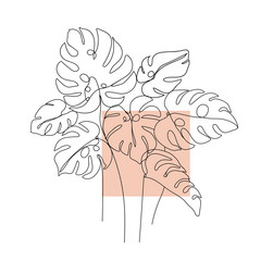 Trendy one line monstera leaves composition. Continuous line print for textile, poster, card, t-shirt etc. Vector illustration.