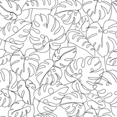 Contemporary floral seamless pattern. One line continuous monstera leaves. Black and white composition. Texture for textile, packaging, wrapping paper, social media post etc. Vector illustration.