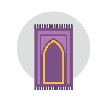 carpet for namaz flat illustration. mat for prayer flat illustration. Arabic Carpet icon.