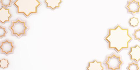 Arabic geometric star ornament on white background. Design creative concept of islamic celebration day ramadan kareem or eid al fitr adha, copy space text area, 3D rendering illustration.