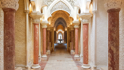 Elements of interior architecture - halls of arches in oriental style