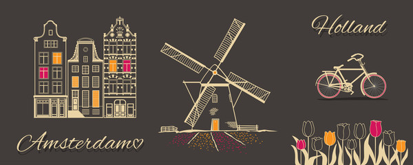 Amsterdam theme picture. Vector illustration.