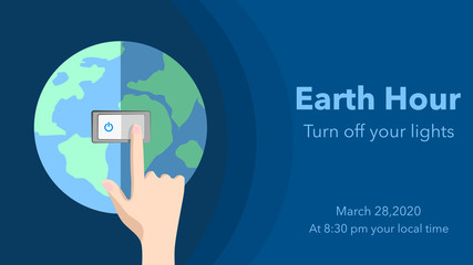 Earth hour on March 28, 2020 . Switch off the light for 1 hour. Voice for the planet concept. A hand turning off the light of the world. Vector illustration, flat design