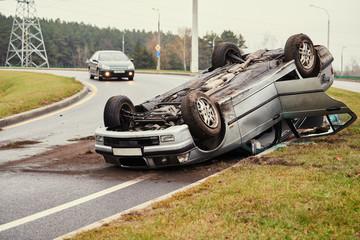 Obraz car crash accident on street. damaged automobiles - fototapety do salonu