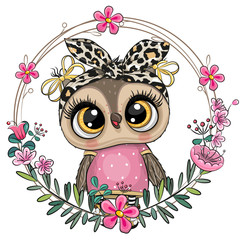 Canvas Prints Owls cartoon Owl with a floral wreath
