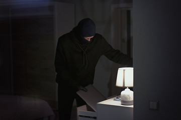 Burglar stealing and putting stolen laptop in bag  inside the house at night