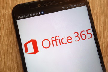 KONSKIE, POLAND - SEPTEMBER 01, 2018: Microsoft Office 365 logo displayed on a modern smartphone