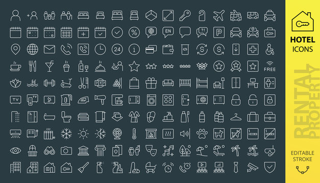 Rental property and Hotel icons set. Set of vector real estate rent, booking hostel,  ui pack house and flat rent, hotel web site rectangular line thin icon