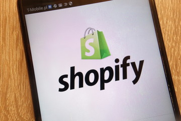 KONSKIE, POLAND - SEPTEMBER 01, 2018: Shopify logo displayed on a modern smartphone