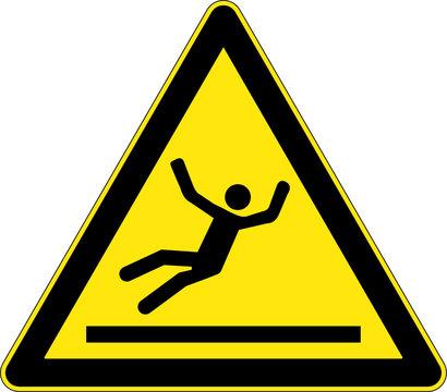 Slippery floor yellow triangle warning sign