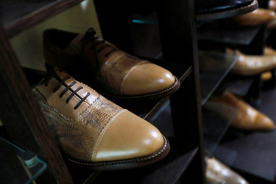 Hirka shoes made from chicken feet leather are seen at the company's workshop in Bandung, West Java province, Indonesia