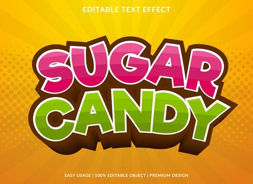 sugar candy text effect template with 3d style and bold font concept use for brand label and logotype sticker