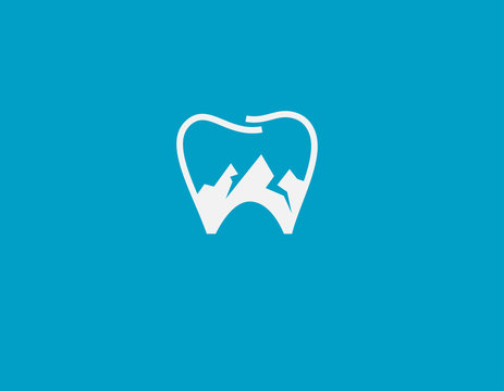 Abstract tooth and snow mountain logo icon for a dental clinic or office for your company