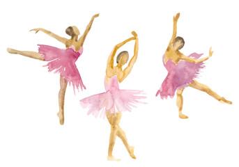 Hand-drawn watercolor illustration: dancing ballerinas in pink