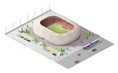 Stadium isometric 3D building. Vector soccer, football and baseball, cricket or rugby sport arena stadium with play field, tribunas and gates, running tracks, car parking and road