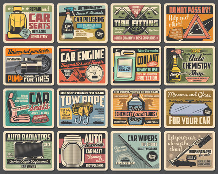 Car spare parts, maintenance vector retro posters. Vehicle repair service wrench, spanner, wheel and tire fitting pump, car engine, radiator and wiper, seat and coolant, brush, tow rope and mirror