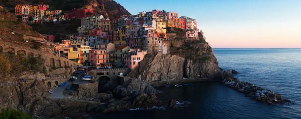 View on the colorful houses of Manarola, La Spezia