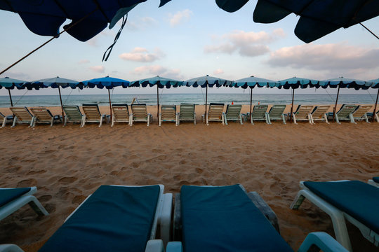 Empty chairs are seen on a beach which is usually full of tourists, amid fear of coronavirus in Phuket