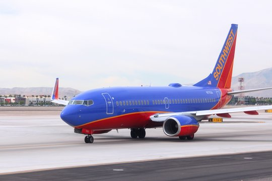 LAS VEGAS, USA - APRIL 15, 2014: Boeing 737 of Southwest Airlines at Las Vegas McCarran International Airport. Southwest is the largest 737 operator in the world (with more than 600 as of 2014).