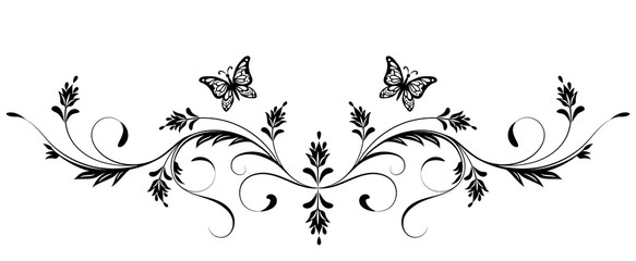 Vintage floral ornament with butterfly for greeting card isolated on white background Wall mural