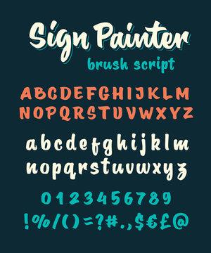 Brush script vector alphabet