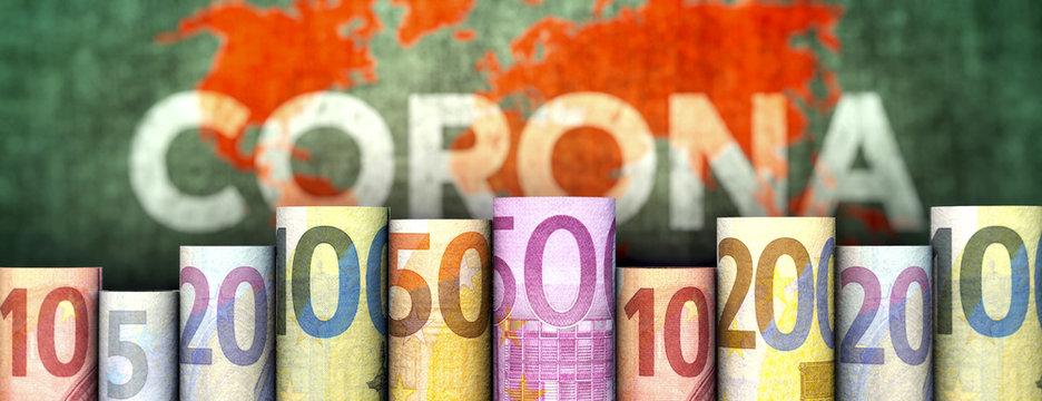 Coronavirus und Geld (Euroscheine)