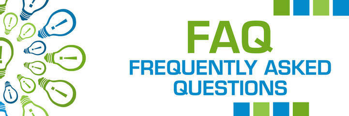 FAQ - Frequently Asked Questions Green Blue Bulbs Circular Horizontal