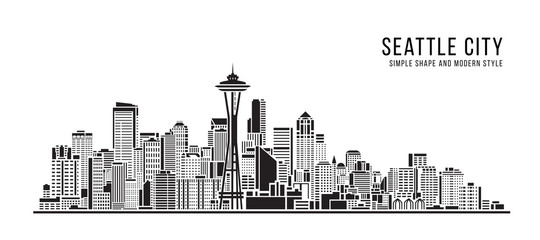 Cityscape Building Abstract Simple shape and modern style art Vector design - seattle city Wall mural