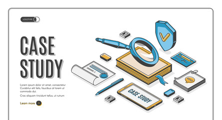 Case study isometric banner, information research