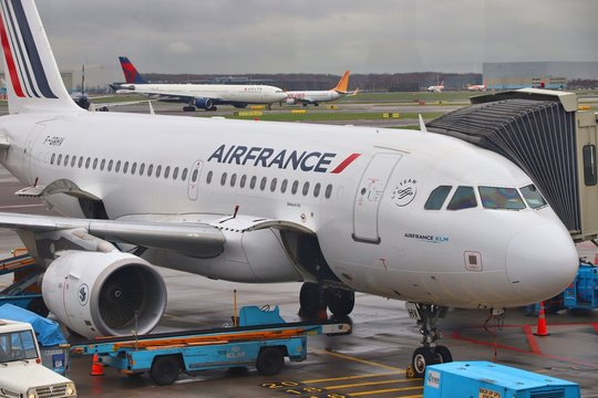AMSTERDAM, NETHERLANDS - DECEMBER 6, 2018: Air France Airbus A319 at Schiphol Airport in Amsterdam. Schiphol is the 12th busiest airport in the world with more than 63 million annual passengers.