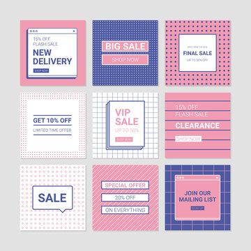 Sale banner templates. Memphis design style social media pack.