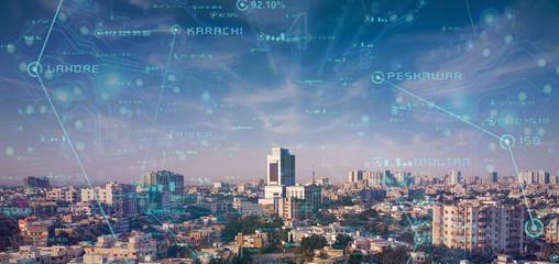 Sityscape of Beautiful Metropolitan City Karachi Fototapete