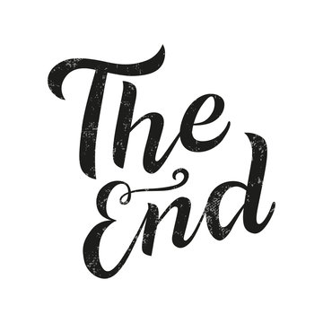 The end lettering text on background. Handmade calligraphy vector illustration. Vector design for poster, logo, decor, movie, cinema, card, banner, postcard, final credits and print.
